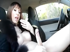 shemale cock in Car
