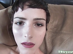 Solo casting tgirl jerking her hard meatpipe