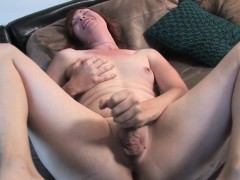 Ginger trans jerking solo on casting couch