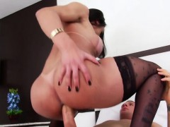 Busty Mexican shemale Melyna Merli anal rides on stiff cock