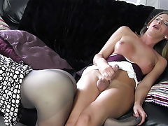 Blonde shemale jacks big spunk-pump before cuming on super hot nylon ass