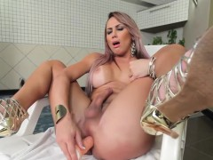 Tanlined latina tgirl masturbating in douche