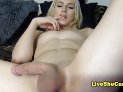 Jaw-dropping light-haired shemale hot camshow