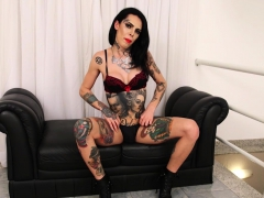 Tattooed tranny Gaby Ink tugging her big  man-meat