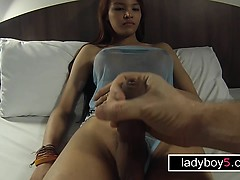 Teen ladyboy with a thick dick blowjob and anal doggy
