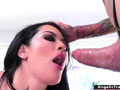 Busty dark haired transgender princess licks and fucks her huge-chested gfs gash