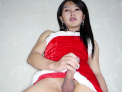 Sexy santa claus shemale from Asia got anal banged