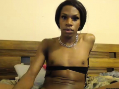 Black She-male With Petite Tits And Big Dick