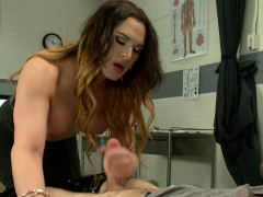 Buxomy she-male anal fucks study