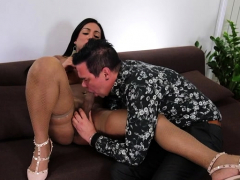Brunette shemale assfuck with cumshot