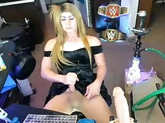sexy transgender princess cun on her black