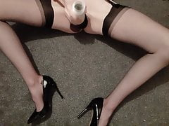 Fleshlight wank and cum in RHT nylons