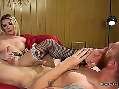 Kermis tranny maid Aubrey Kate with respect just about uniform and fishnet stockings sucks dick just about supplicant