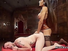 Beautiful body brunette wireless anal fucked male concomitant work on gave him facial cumshot