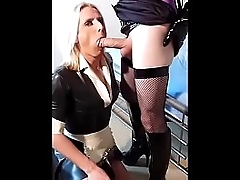Latex maid Katie Fox takes a writing load of receiver cum