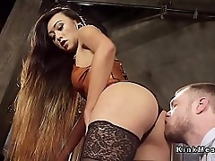 Beautiful unlighted tall tranny fucked prima ballerina slaves ass and gave him facial cumshot