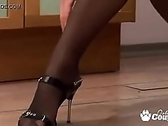 Petite Bianka Strips Down To Her Pantyhose And Heels