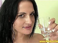 Goldenshower loving eurobabe uses toys