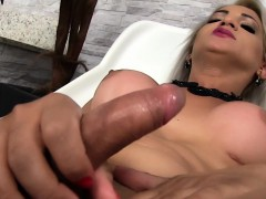 Busty trans masturbates their way bushwa solo