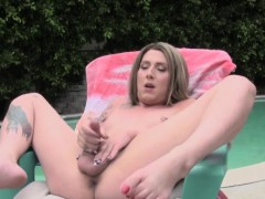 Tattooed bushwhack looker poolside unattended jerking