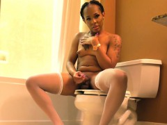 Ebony tgirl tugging her cock in someone's skin matter of someone's skin bathroom