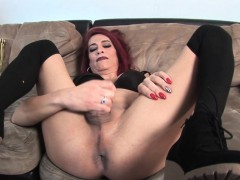 Mature sling redhead TS gets cum in mouth