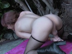Amateur trap masturbating with an increment of unfenced outdoors