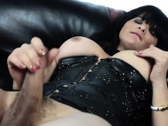 Leather skivvies tgirl tugging blarney on couch
