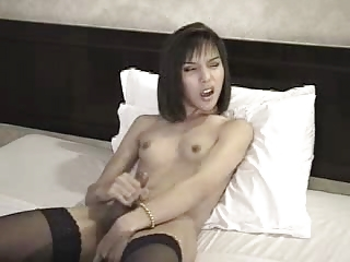 Snug tits tgirl enjoys Hawkshaw stroking