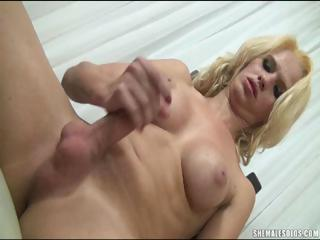 Georgeous Blonde Tranny Jerks Off