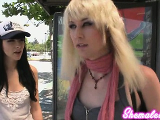 Bailey Jay hooks far with Bee Armitage for some hardcore shemale sex!