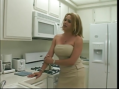 Sexy blonde tranny gets her long thick fuckpole deep throated