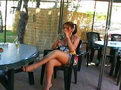 Tranny with big nads gets romped outdoors
