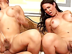 Slutty she-males in jeans playing with shecocks in foursome