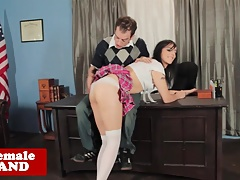 Tranny schoolgirl spanked and barebacked