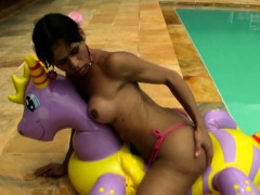 Exotic teen shemale with decent jugs plays around and jerks